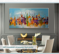 large canvas wall art abstract modern decorative pictures New york city oil painting on canvas for living room decoration