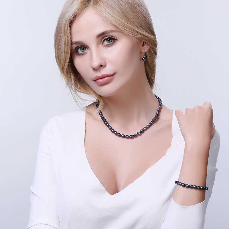 DAIMI 6-7mm לבן קטן אורז פרל תכשיטי סטי שרשרת צמיד עגילי פנינה סטים עבור נשים כל יום תכשיטים