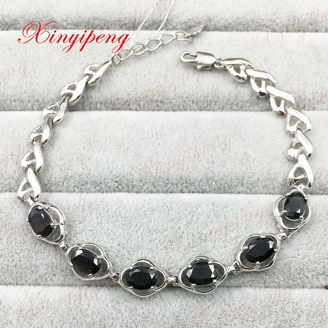 925 sterling silver with 100% natural Sapphire bracelet Fashion jewelry Mother a gift Blue gems