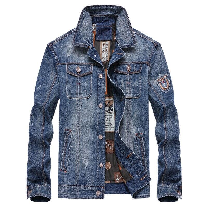Bleu pu Jean Lâche Vestes Veste Patchwork Pour Hommes Mode Manteaux Ciel Mens Denim Et Streetwear wX7gYxOqB