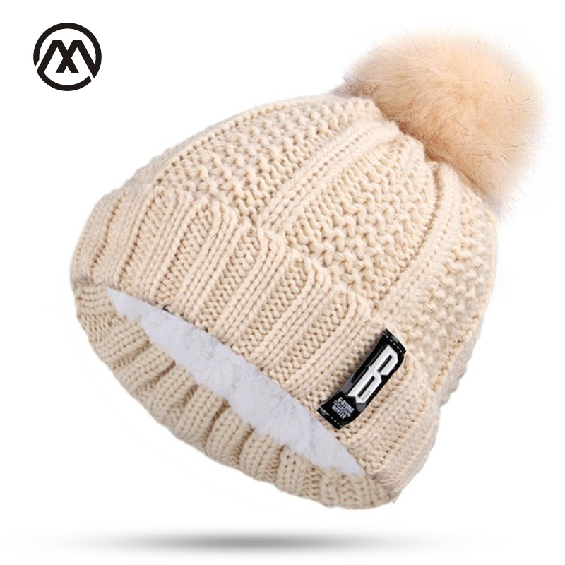 Winter women's hat Double layer Warm hats pompoms Ball Winter hats For Women Knitting Cap   Skullies     Beanies   Hat female Gorros