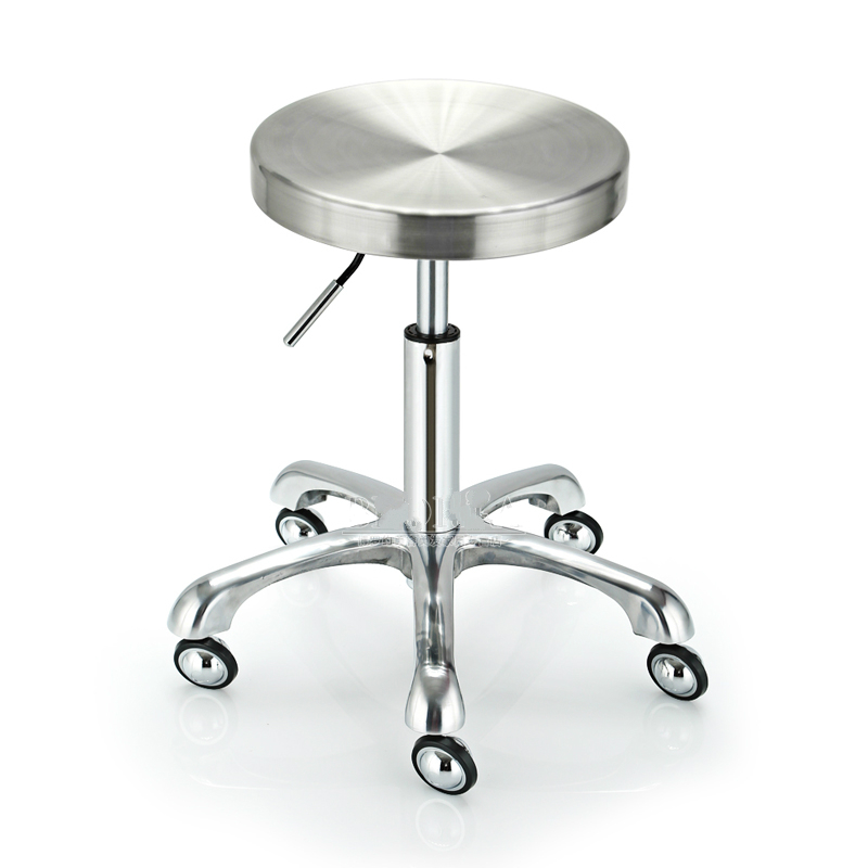 Explosion Proof Stainless Steel Cosmetology Stool Lifted And Rotation Barber Stool Slidable Staff Chair Simple Style Bar Chair