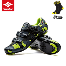 Santic 2018 NEW Men Road Cycling Shoes Road Bike Sneakers Men's Racing Bicycle Shoes PU Shoes for Man Outdoor Riding, 3 Colors