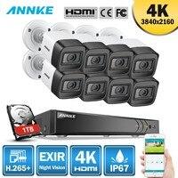 ANNKE 4K HD Ультрапрозрачная кадры 8CH видеонаблюдения Системы 5MP 5in1 H.265 + DVR с 8X8 Мп защита от атмосферных воздействий EXIR Ночное видение