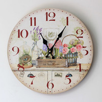 Decorative Kitchen Wall Clocks Home Furnishing Painted Floral Wood Wall Clock Good Quality Fashion Electronic Clock