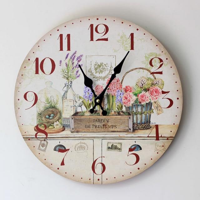 Dekorative Kche Wanduhren Home Furnishing Bemalt Floralen Holz