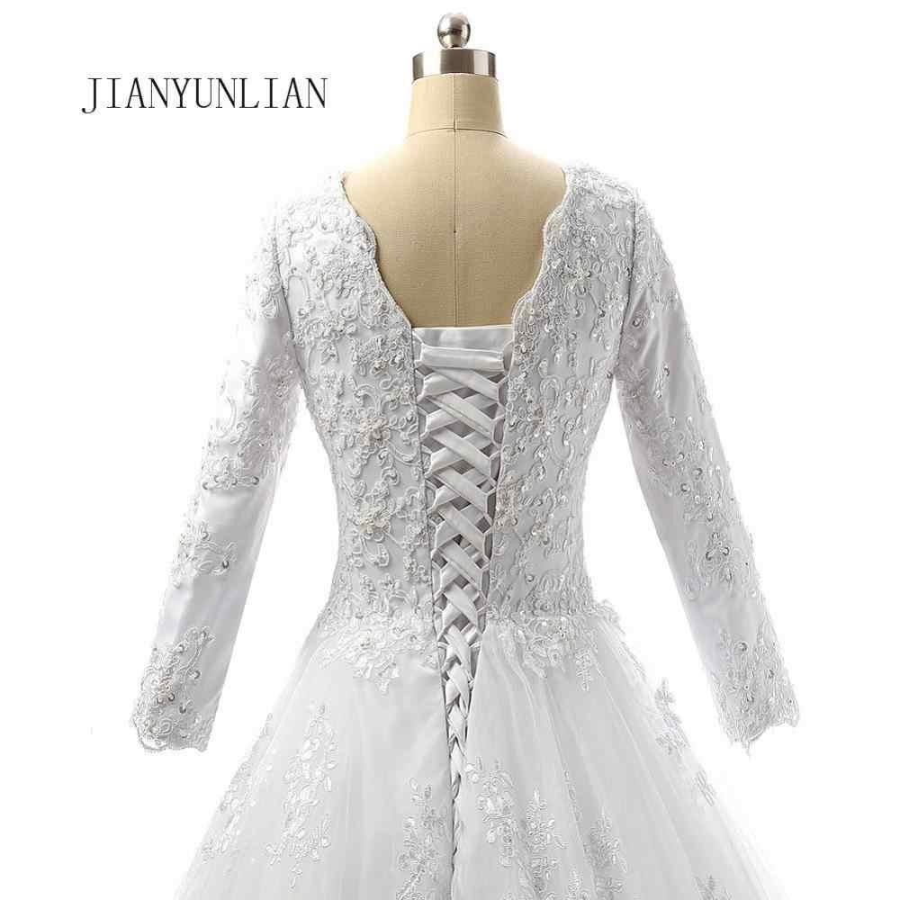 Свадебное платье с v-образным вырезом, Кружевной Тюль, рукава 3/4, Аппликации, шнуровка, 2020