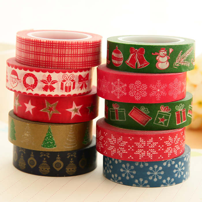 1Roll~10Rolls(Accept Select Design) 15mm*10m Japanese Washi Decorative Adhesive Tape Christmas Gift Masking Paper Tape