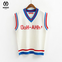 MUMUZI 2017 Autumn Preppy Style Sweater Waistcoat Ah Hoo Embroidery Knitted Tops Sweater England Style Sweaters Knitwear