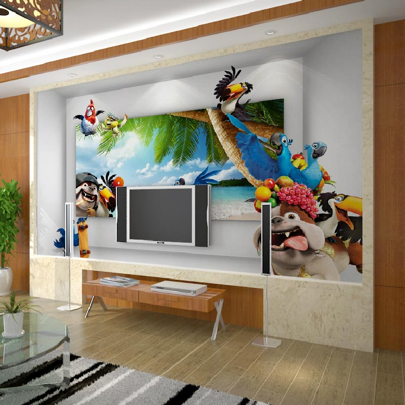 Home Decor Wall Papers 3D Cartoon Anime Parrot Photo