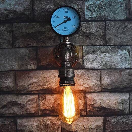 Steam punk Loft Industrial iron rust Water pipe retro wall lamps Vintage E27 LED sconce wall lights for living room bedroom bar loft steam punk big sword style decorative iron rust water pipe wall lamp vintage e27 led sconce lights for living room bedside
