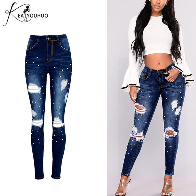 7b062df5686 2019 Spring Mom Skinny Jeans Woman With High Waist Denim Pencil Pants  Ripped Jeans For Women Trousers Female Pearl Jeans 34-46