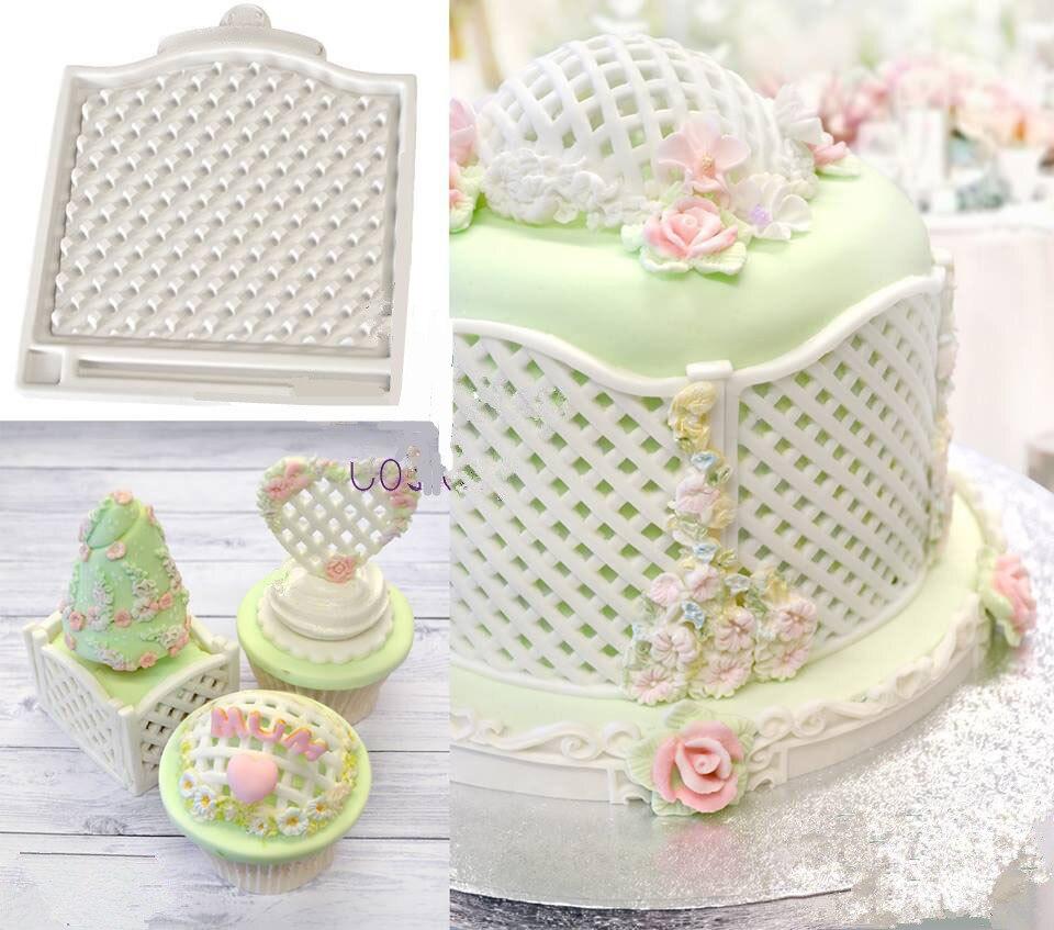 Enrejado Valla Cesta Molde de Silicona Fondant Cake Molds Confeitaria Decorating