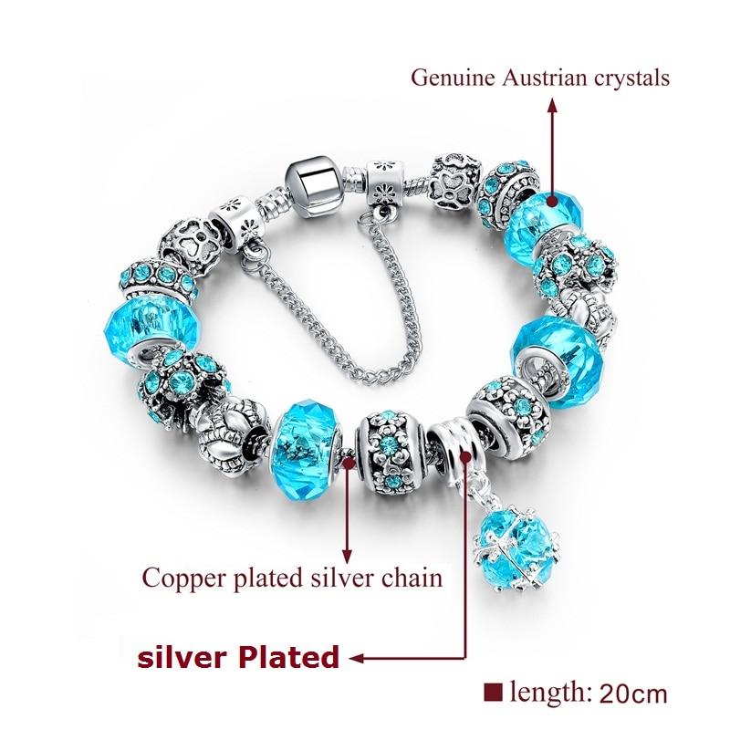 Longway European Style Authentic Tibetischen Silber Blau Kristall - Modeschmuck - Foto 2