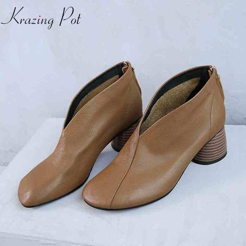 Krazing Pot offre spéciale gant chaussure en cuir véritable étrange étrange talon haut fermeture éclair automne hiver marque bout rond loisirs pompes L03