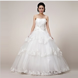 2016 bride lace wedding dress elegant sweet princess wedding dress tube top type magnificent wedding white wedding dress