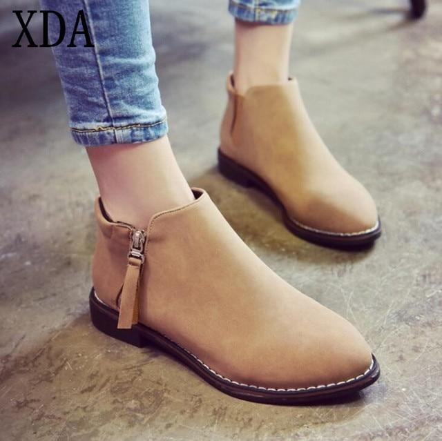 Xda 2017, Новая мода женские зимние ботильоны Для женщин сапоги Дизайн молнии с круглым носком Для женщин ботинки челси Бесплатная доставка X830