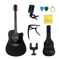 41 Inch Black Folk Guitar Basswood Acoustic Guitar Full Kits for Beginners Rosewood Guitar HUAWIND Brand