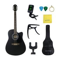 41 Inch Black Folk Guitar Basswood Acoustic Guitar Full Kits for Beginners Rosewood Guitar HUAWIND Brand