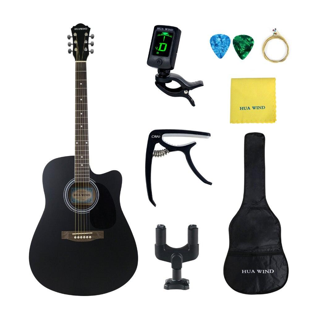 41 pouce Noir Folk Guitare Tilleul Acoustique Guitare Kits Complets pour Les Débutants Palissandre Guitare HUAWIND Marque