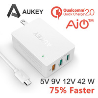 Aukey White 2 0 Quick Charger 3 Ports Fast Wall Travel Charger US Plug 2 Port