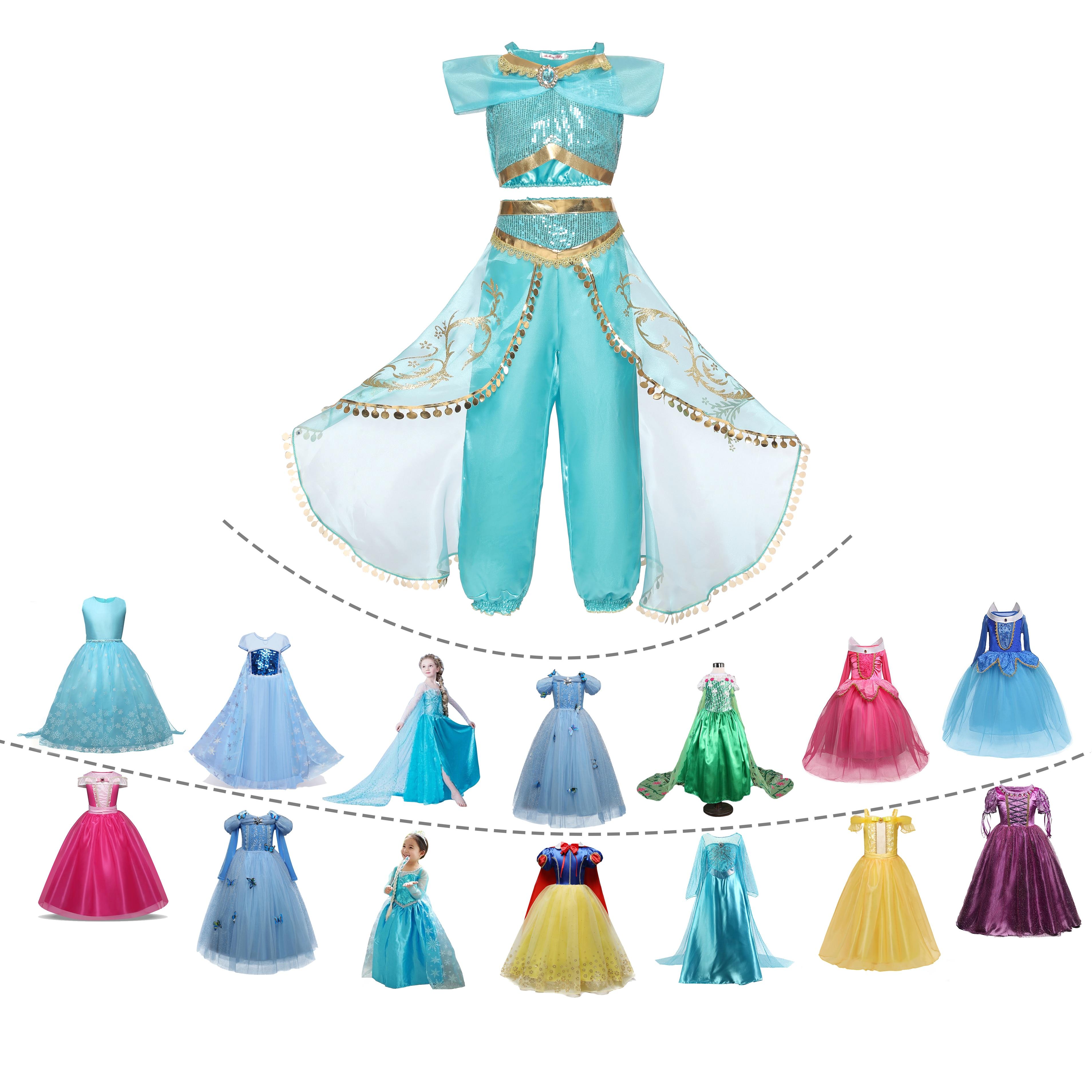 Elsa-Dresses Jasmine Aladdin Cosplay Rapunzel Halloween Carnival-Aurora Baby Anna Kids