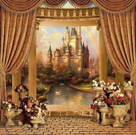 10x10FT Rainbow Sky Princess Castle Palace River Orange