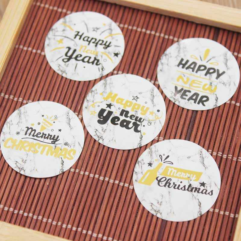 3cm100pcs flower pattern Thank you sticker label gold foil Happy new year jewelry label tag Merry christmas self adhesive label