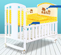 European Style Solid Wood Baby Bed Multifunctional Baby Crib Newborn Infant Baby Cradle Baby Playpen Crib 5pcs Bed Suit C01