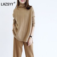 LHZSYY Autumn and winter New high collar Cashmere Sweater loose fashion twist soft women Sweaters high quality pullover thick