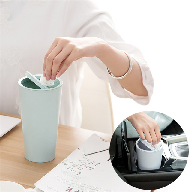 Trumpet Desktops Table Trash Can Mini Creative Covered Kitchen Living Room Office Sundries Organizer Dustbin Container J#1