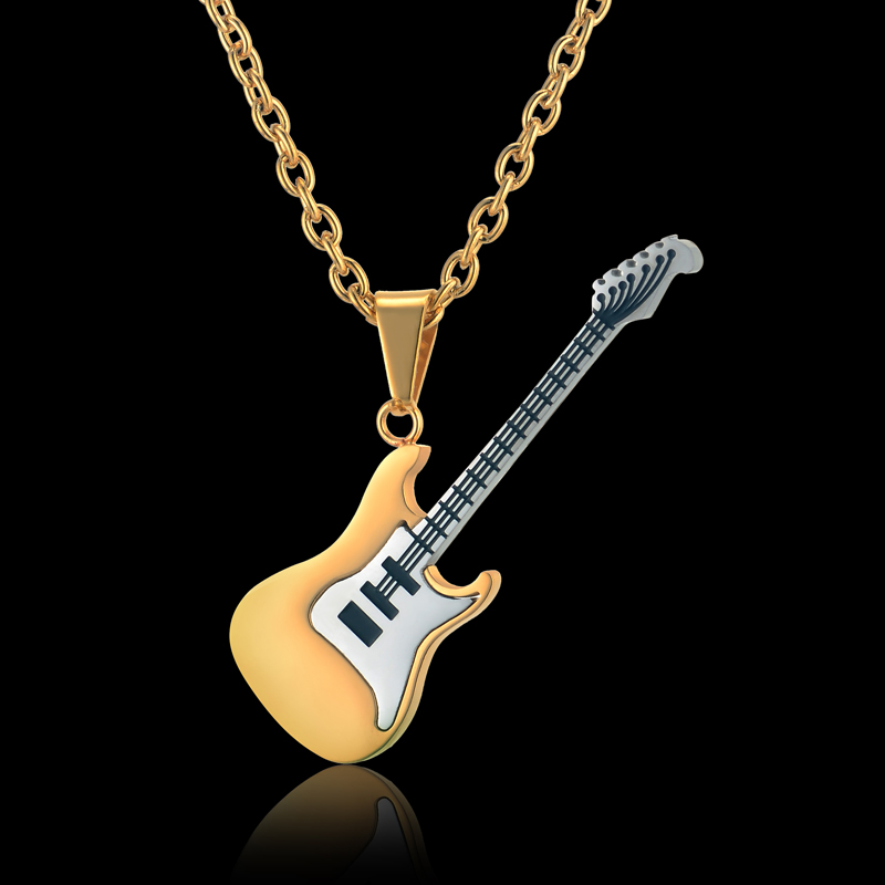 Guitar Necklace & Pendant Stainless Steel Music Jewelry -1