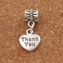 Thank You Heart Charm Beads 23.5x10.9mm 100PCS Antique Silver Fit European Bracelets Jewelry DIY B373