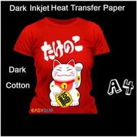 50 Sheets A4 Inkjet Dark Thansfer Paper on Dark Cotton T Shirts Dark Cotton Fabric Heat Press Print for Heat Press Machine