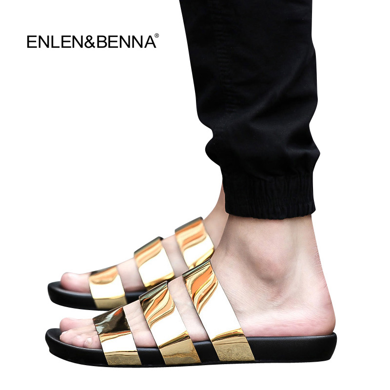 New Arrival2016 Summer Male Sandals Men Gold Leather Shoes