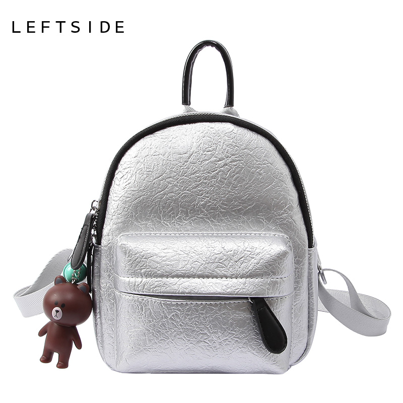 LEFTSIDE 2018 MINI Cute Backpack For Girls Women Fshion Leather Small Backpacks Ladies Back Pack Sliver Black Champagne Pendant