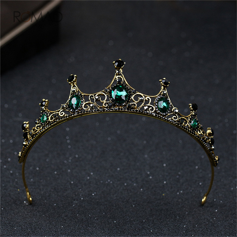 Romad Vintage Baroque Green Crystal Tiaras Crowns For Women Girls Bride Wedding Hair Jewelry Accessories in Hair Jewelry from Jewelry Accessories