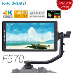Feelworld F570 5.7 IPS DSLR On Camera Field Monitor 4K HDMI FHD 1920x1080 Video Monitor for Sony Canon Nikon Etc with Bracket
