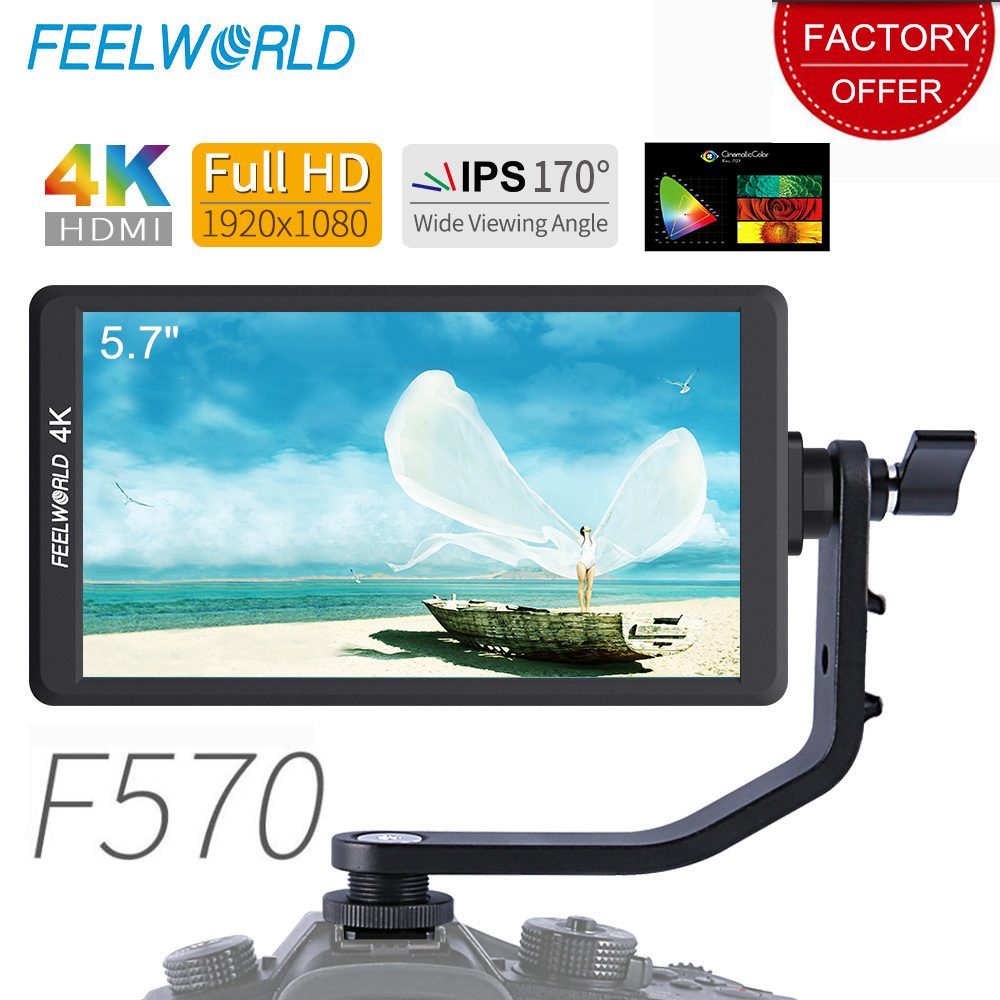 "Feelworld F570 5.7"" IPS DSLR On Camera Field Monitor 4K HDMI FHD 1920x1080 Video Monitor for Sony Canon Nikon Etc with Bracket"