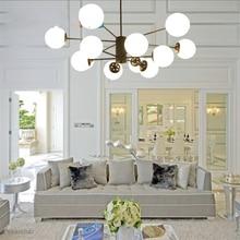 цена на JAXLONG Nordic Modern LED Chandelier Living Room Bedroom Lamp Lustres Cristal Indoor Home Lights Glass Wrought Iron Study Dining