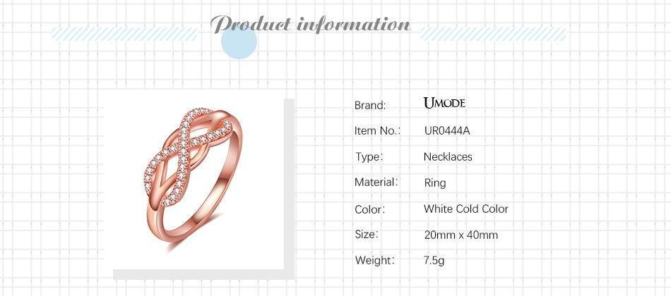 d27864a8eab4 UMODE Rosa oro mujer onda inicial carta anillos moda circón infinito  Gauntlet geométrico compromiso joyería UR0444