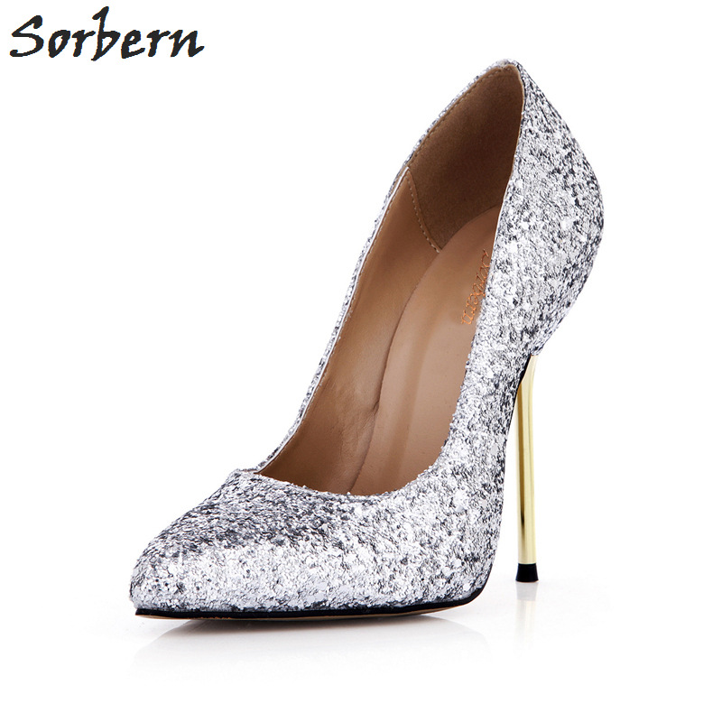 Talons Cm Chaussures Hauts Haute Multi Bling Femmes Pompes Sorbern Or Sexy Argent Glitter 12 Pointu Bout argent Dames pwBS1t
