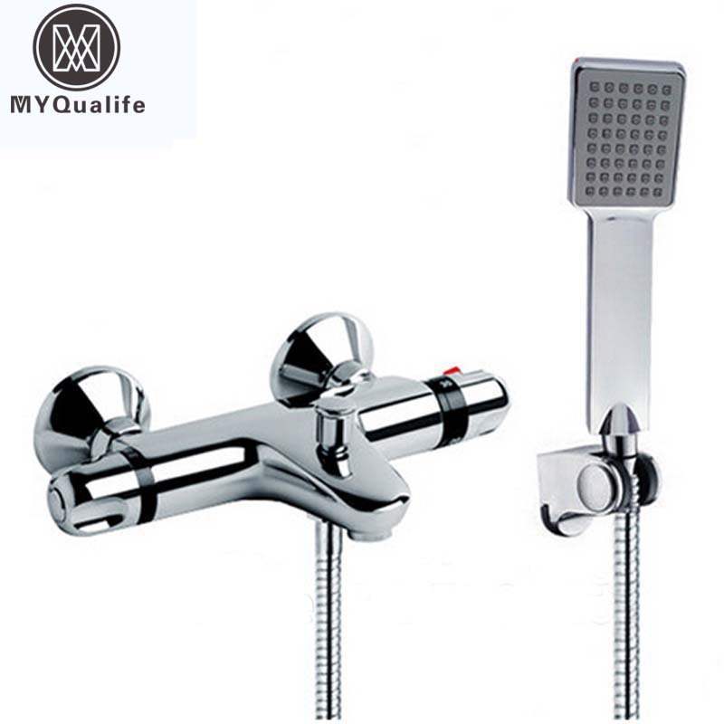 Promotion Cheap Chrome Shower Mixer Taps Thermostatic Mixer Valve Dual Handle Hand Held Shower Faucet set wall mount thermostatic shower faucet mixers chrome dual handle bathroom hand held bath shower taps