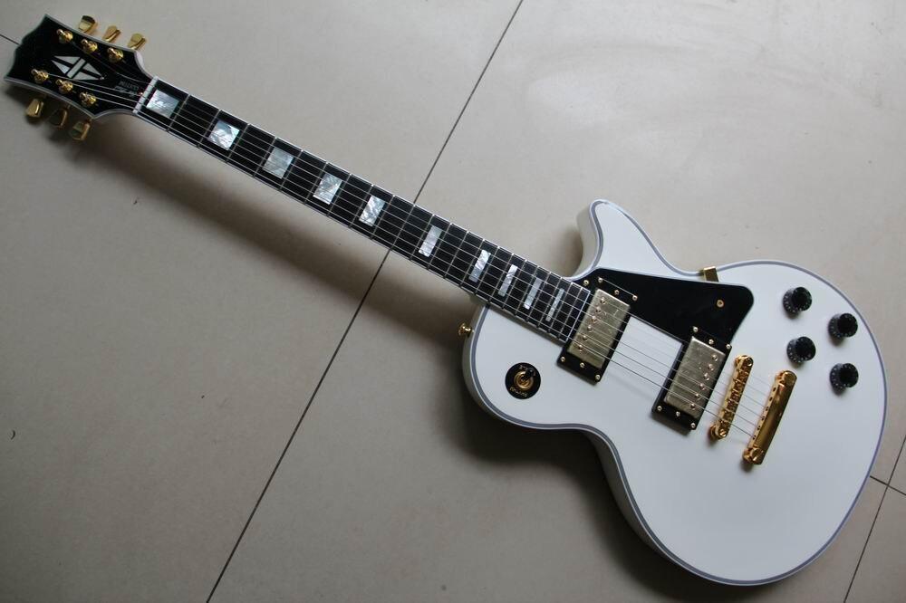 New Custom Electric Guitar Ebony Fingerboard/Real Shell Inlay Magogany Body/neck/ In White 130125 yibuy 2pcs inlay colorful guitar head veneer shell sheet new