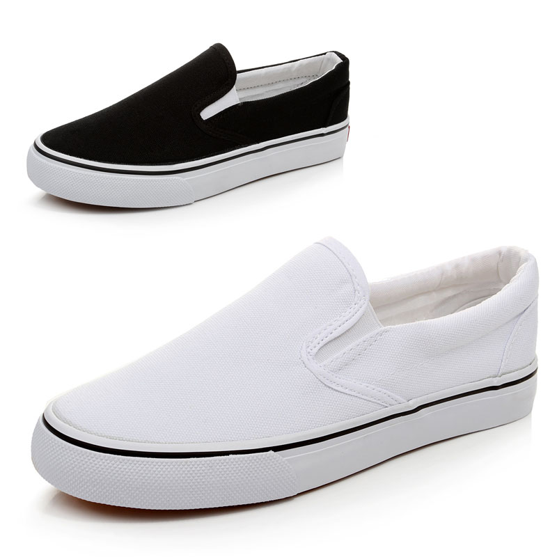 Womens White Canvas Slip On Shoes