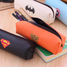 Fashion School Bags Leather Pencil Case Large Capacity Pencilcase Cute Superheroes Female Bag Office Supplies