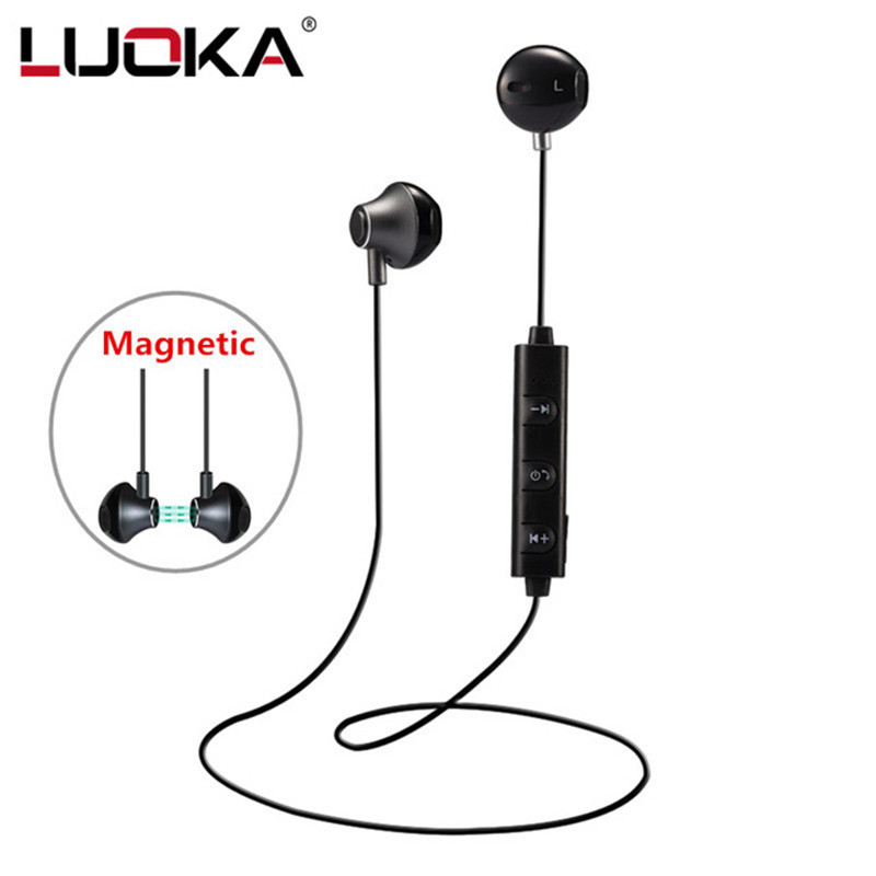 LUOKA 820 in Ear Wireless Bluetooth Earphone Magnetic Stereo Sport Running Headsets With Mic For IPhone Earpod Samsung Xiaomi egrincy x11 mini bluetooth car earphone wireless handsfree in ear headsets usb magnetic charging with usb socket mic for iphone