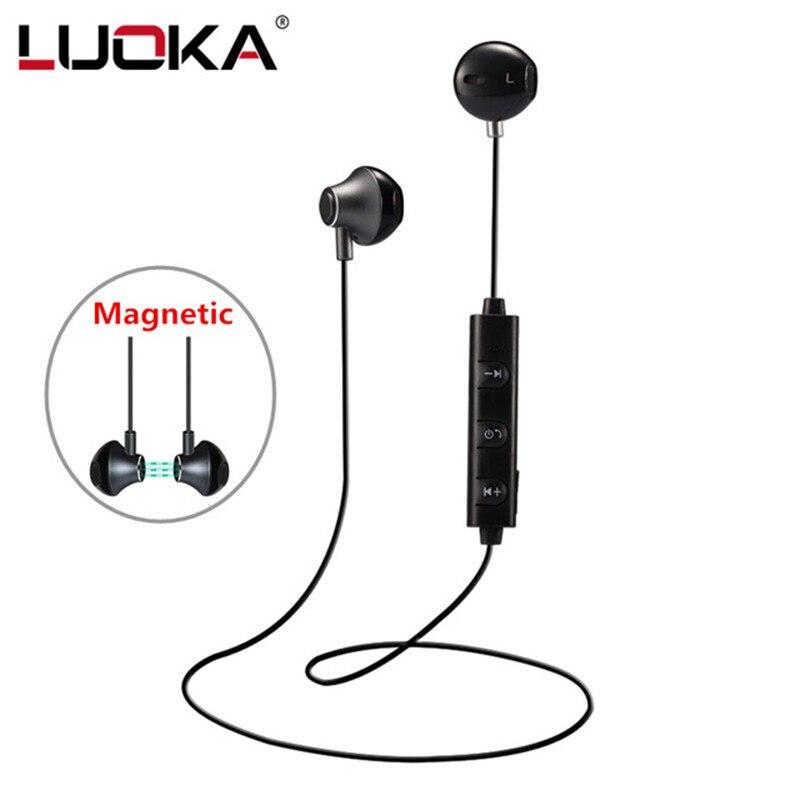 Luoka 820 en el oído auricular Bluetooth inalámbrico estéreo magnética deporte Correr auriculares con micrófono para el iPhone earpod Samsung xiaomi