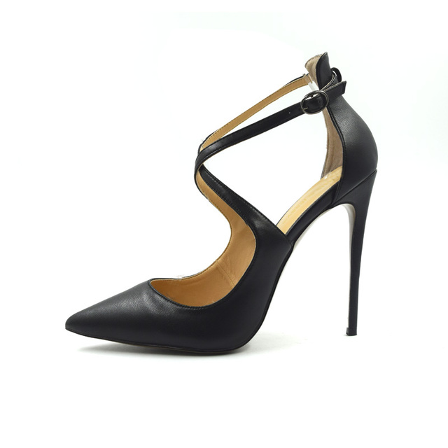 b00521758e62 Cover Heels Cross Straps Pointed Toe Shallow Ladies Shoes Sexy Classical  Women Office Shoes High Heel Party Shoes