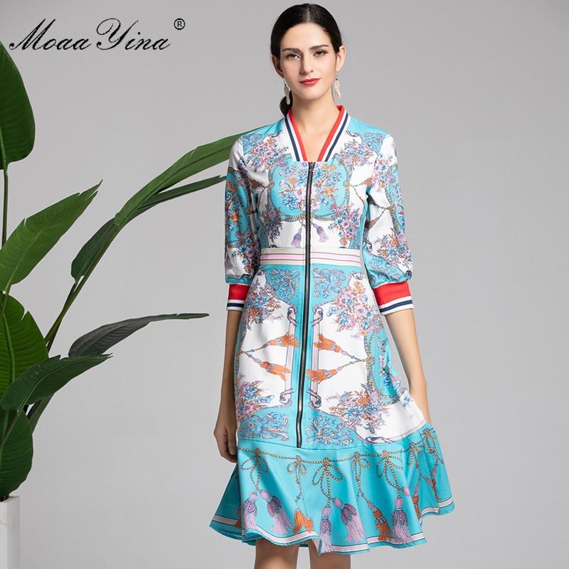 17137344212 Floral V Manches Robe Moaayina Printemps Créateur Élégante Turquoise Mince  Fourreau Mode Féminins cou Femmes Demi ...